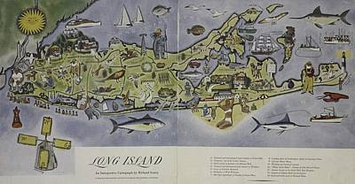 Long Island An Interpretive Cartograph Print by Duncan Pearson