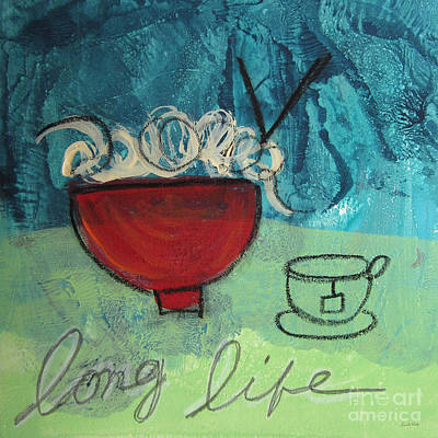 Red Abstract Mixed Media - Long Life Noodles by Linda Woods