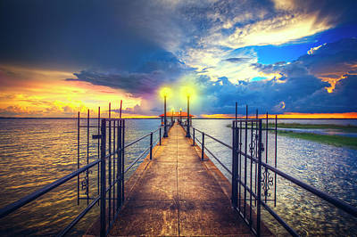 Long Pier At Sunset Print by Debra and Dave Vanderlaan