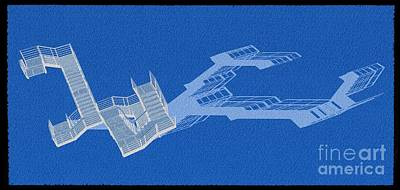 Barcelona Mixed Media - Long Shadow Of Stair 41 Negative Blue by Pablo Franchi