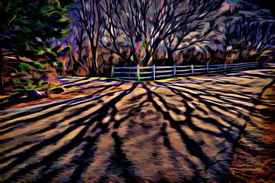 Plein Air Digital Art - Long Shadows by Lilia D