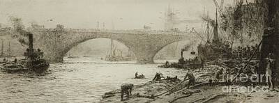 Long Shoremen Working In The Pool Of London Print by William Lionel Wyllie