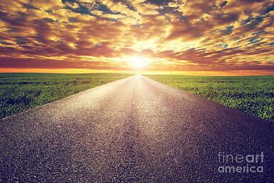 Metaphor Photograph - Long Straight Road Towards Sunset Sun by Michal Bednarek