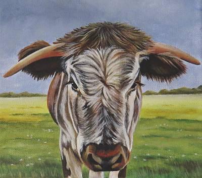 Steer Painting - Longhorn Calf by Lucy Deane