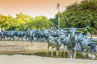 Longhorn Cattle Sculpture In Pioneer Plaza, Dallas Tx Print by Art Spectrum