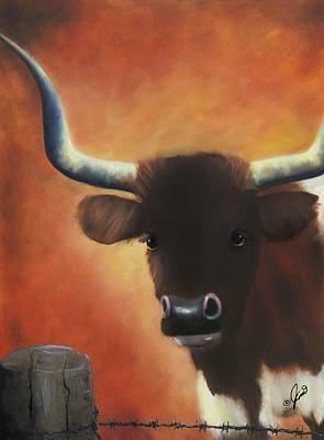 Steer Painting - Longhorn Stare by Joni M McPherson