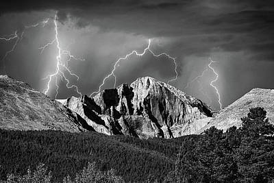Monochrome Photograph - Longs Peak And Lightning In Black And White by James BO Insogna