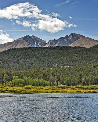 Longs Peak And Mount Meeker Above Lily Lake In Rocky Mountain National Park Colorado Print by Brendan Reals
