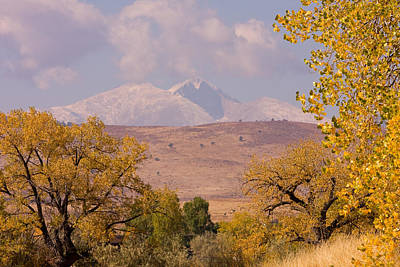 Yellow Photograph - Longs Peak Diamond Autumn Shadow by James BO  Insogna