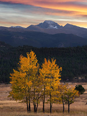 Longs Peak From Moraine Park - Fall Print by Aaron Spong