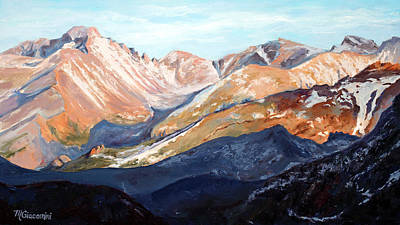 National Parks Painting - Longs Peak From Trail Ridge Road by Mary Giacomini