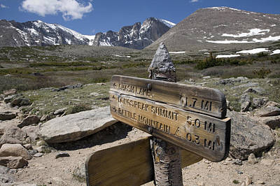 Longs Peak Seen From Chasm Lake Trail Print by Scott S. Warren