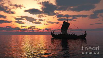 Longship At Sunset Print by Fairy Fantasies
