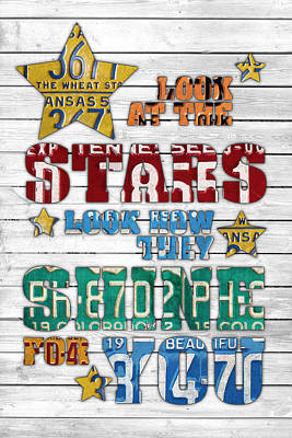 Look At The Stars Coldplay Yellow Inspired Typography Made Using Vintage Recycled License Plates V2 Print by Design Turnpike