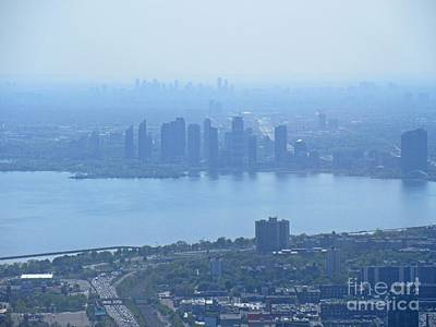 Aerial Perspective Painting - Looking East Of Toronto From The Cn Tower by John Malone