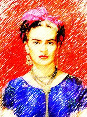 Kahlo Mixed Media - Looking For Frida Kahlo by Madalena Lobao-Tello
