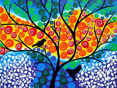 Hearts On Trees Drawing - Looking Forward Together by Cathy Jacobs