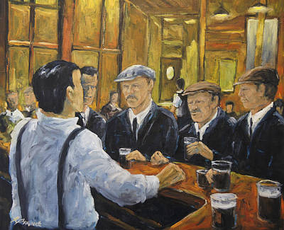 Town Painting - Looking In The Pub by Richard T Pranke