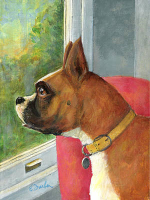 Boxer Painting - Looking Out by Edward Farber