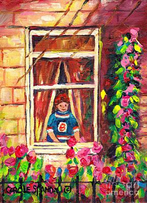 Looking Out The Window On Garden View Boston Bruin Fan Longing For Hockey Season Carole Spandau Original by Carole Spandau