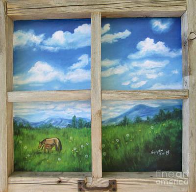 Pasture Scenes Drawing - Looking Out by Stephanie  Skeem