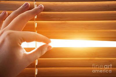 Horizontal Photograph - Looking Through Window Blinds, Sun Light Coming Inside by Michal Bednarek