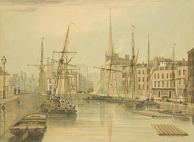 Dock Drawing - Looking Towards Stone Bridge by Thomas Leeson the Elder Rowbotham