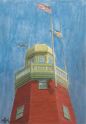 New England Lighthouse Painting - Looking Up Portland Observatory by Dominic White