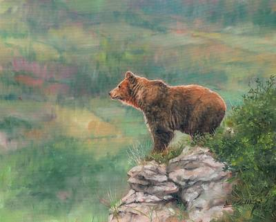 Brown Bear Painting - Lookout by David Stribbling