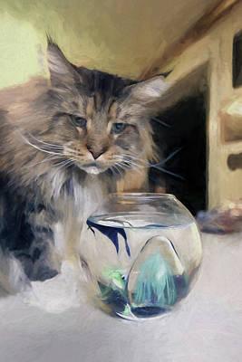 Fine Art Cat Digital Art - Look's Like Dinner's Just About Ready. by James Steele
