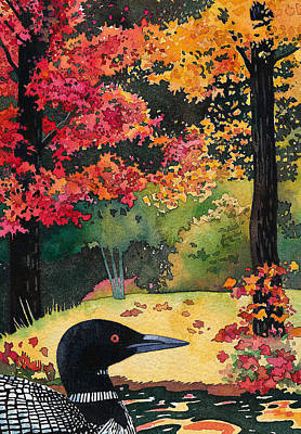 Loon Painting - Loon In Water Garden by Bekare Creative