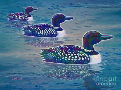 Loon Digital Art - Loon Lagoon by Teresa Ascone