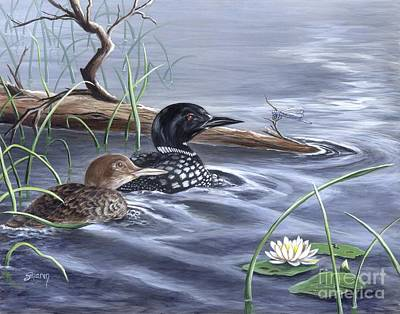 Loons And Dragonfly Original by Sharon Molinaro