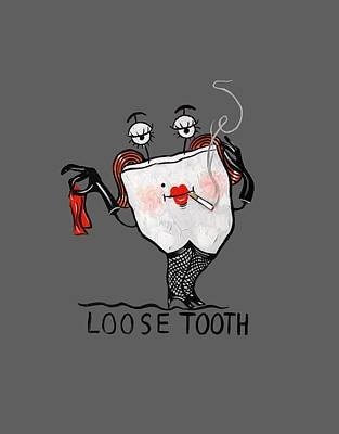 Digital Art - Loose Tooth T-shirt by Anthony Falbo
