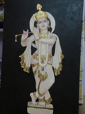 Shri Krishna Painting - Lord Krishna Statue Painting by Rohit kumar Vohra