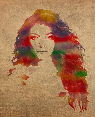 Royal Mixed Media - Lorde Watercolor Portrait by Design Turnpike
