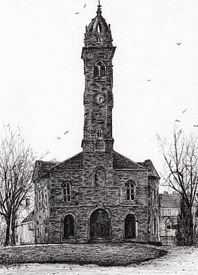 Pen And Ink Tree Drawing - Lorne And Lowland Parish Church by Vincent Alexander Booth