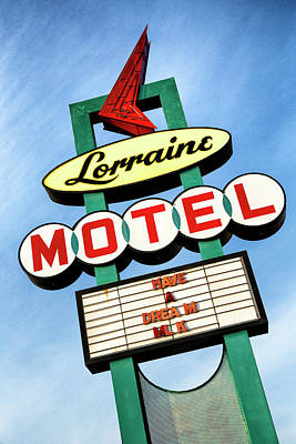 Psychedelic Photograph - Lorraine Motel Sign by Stephen Stookey