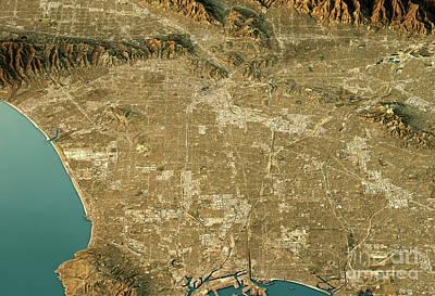 Santa Digital Art - Los Angeles 3d Landscape View South-north Natural Color by Frank Ramspott