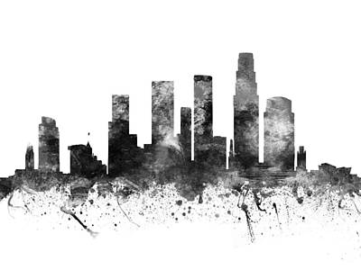 Los Angeles Skyline Drawing - Los Angeles California Cityscape 02bw by Aged Pixel