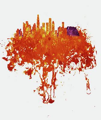 Los Angeles Skyline Mixed Media - Los Angeles California Cityscape 1b by Brian Reaves