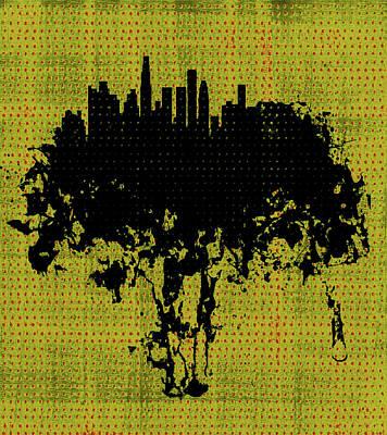 Los Angeles Skyline Mixed Media - Los Angeles California Cityscape 1c by Brian Reaves
