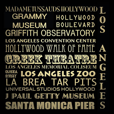 Los Angeles California Famous Landmarks Print by Patricia Lintner