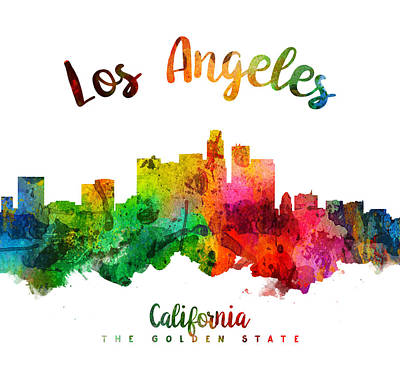 Los Angeles California Skyline 24 Print by Aged Pixel