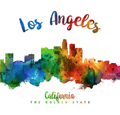 Los Angeles California Skyline 25 Print by Aged Pixel