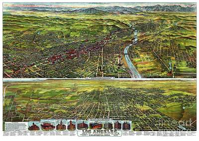 Vintage Map Painting - Los Angeles - California - United States - 1894 by Pablo Romero