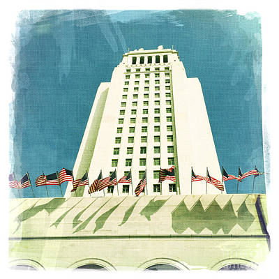 Los Angeles City Hall Print by Nina Prommer