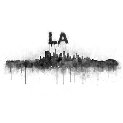 Los Angeles City Skyline Hq V5 Bw Original by HQ Photo