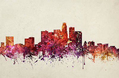 Los Angeles Skyline Drawing - Los Angeles Cityscape 09 by Aged Pixel