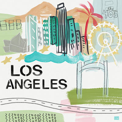 Los Angeles Cityscape- Art By Linda Woods Print by Linda Woods